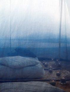 dreamy muslin tent on the beach