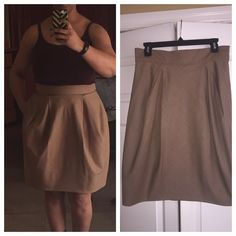 NWOT- BCBG darted skirt. Then tan colored skirt is new. It is darted in the front and back almost giving it a closed rose bud look. It's hard to describe but very unique. Would probably look best on someone straight up and down. BCBGMaxAzria Skirts A-Line or Full