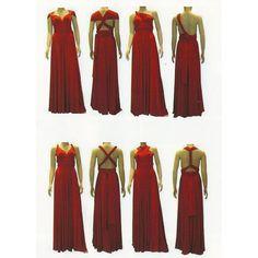 Long red multi-way dress Bridesmaid Dresses, Wrap Dresses, Wedding Dresses, Multi Way Dress, Rose, Channel, Fashion, Bridesmade Dresses, Bride Dresses