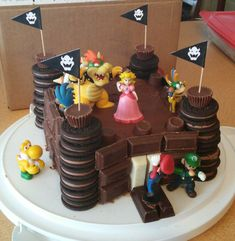 Corbin's 4th Birthday cake I made: Bowser's Castle