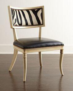Massoud Black Zebra Leather Dining Chair