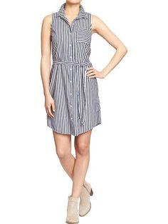 Women's Striped Sleeveless Shirtdresses Product Image