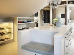 The built in Bench! The Grand Collective Walk-in Closet Design by House of Funk Ikea Closet, Attic Closet, Master Closet, Closet Drawers, Master Bedroom, Walk In Closet Design, Closet Designs, Closet Island, Dressing Room Closet