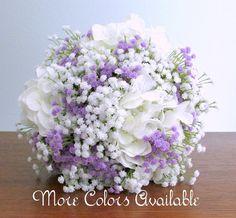White Hydrangea and Baby's Breath Wedding Bouquet, Orange, Brown, Coral Pink, Burgundy, Blue, Golden