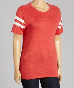 Loving this Red & White Contrast Tee - Plus on #zulily! #zulilyfinds