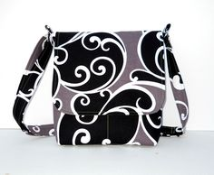 Small Fabric Messenger Bag  - Michael Miller Whimsy Surf in Black and Brown. $37.00, via Etsy.