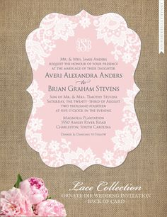 Lace Collection Ornate Die Cut Wedding Invitation by AnnaHatcherDesign / Photo or Design on Back Included