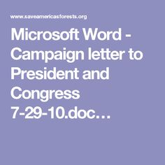 Microsoft Word - Campaign letter to President and Congress 7-29-10.doc…