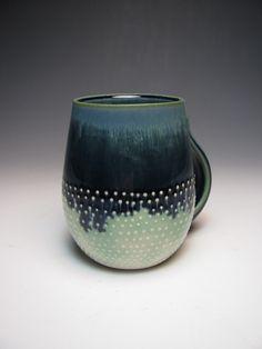 Samantha O'Haver Ceramics glazed mug with white dots