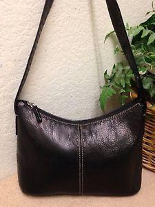 bca5523a2b Fossil Vintage 1954 Black Pebble Leather Shoulder Handbag Hobo Bag ZB9092  VGC
