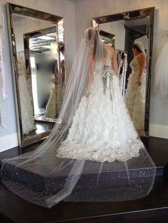 Wedding Veil Swarovski Crystal Rhinestone Cathedral by clager6