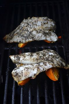 Grilled orange roughy with dill and oranges. Can be made with any white fish. So easy, light, and delicious!