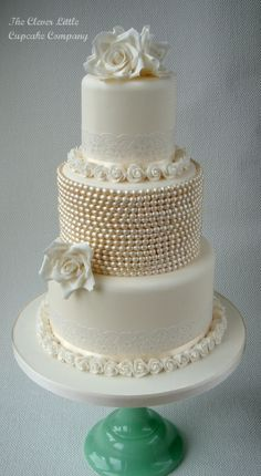 Vintage Lace and Pearl Wedding Cake