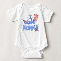 """I Love Mommy"" daisy lilac hearts dragonflies Baby Bodysuit - spring gifts style season unique special cyo"
