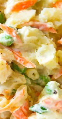 Hawaiian Macaroni Salad Recipe - A Hawaiian lunch special! Creamy macaroni salad with tender chunks of potato, sweet peas, and carrots. Potato Salad With Apples, Potato Salad Mustard, Potato Salad Recipe Easy, Potato Recipes, Salad Recipes Video, Best Salad Recipes, Salad Dressing Recipes, Hawaiian Macaroni Salad, Macaroni Salads