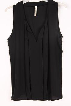 Black Silky Sleeveless Pullover.
