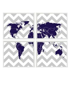 World Map Wall Art Print   Chevron Gray Navy by RizzleandRugee