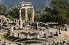 Photo about The ruins of the Tholos in Delphi archaeological site, Greece. Image of stone, greece, columns - 31893170 Ancient Ruins, Ancient Greece, Oracle Of Delphi, Delphi Greece, Manhattan Times Square, Lower Manhattan, Heroic Age, Greek Pantheon, Archaeological Site