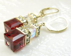 Red Garnet Crystal Earrings Swarovski Cube Dangle by fineheart