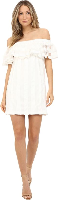 ZAC Zac Posen Women's Crystal Dress White Dress. The sweet Crystal Dress is the perfect warm-weather dress!. Off-the-shoulder neckline with ruffle detail. Side-zip closure at left. Fully lined. Straight hem. 71% rayon, 29% nylon.Lining: 100% polyester. Dry clean only. Made in the U.S.A. This item may ship with an attached security tag. Merchandise returned without the original security tag attached or a damaged tag may not qualify for a refund. Measurements: Length: 27 in Product...