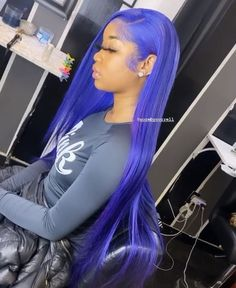 Blue Wigs Lace Hair Lace Frontal Wigs Curly Afro Wig The Wig Store Aqu – datestal Black Hair Dye, Purple Hair, Wig Styles, Curly Hair Styles, Lace Wigs, Lace Front Wigs, Colored Wigs, Blue Wig, Hair Laid