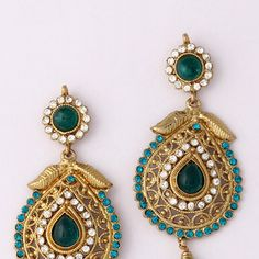 Turquoise Blue and White Stone Studded Earring