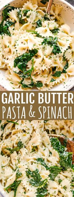 Garlic Butter Pasta with Spinach - Fresh spinach and bow tie pasta tossed in a deliciously warm and creamy garlic-butter sauce. recipes Garlic-Butter Spinach and Pasta Recipe Italian Chicken Pasta, Chicken Pasta Recipes, Easy Pasta Recipes, Easy Meals, Meatless Pasta Recipes, Spinach Pasta Recipes, Pasta Ideas, Chicken Pasta With Spinach, Vegetarian Recipes