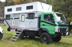 Mitsubishi Fuso-based expedition vehicle from Four Wheel Pop-Up Campers Camper Caravan, Camper Trailers, Camper Van, Travel Trailers, Volvo 4x4, Truck Camping, Camping Stuff, Mitsubishi Cars, Adventure Campers