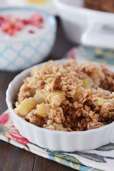 Amish Baked Cinnamon Apple Oatmeal - this can be prepared the night before and then baked in the morning. Easy, healthy and delicious!