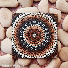 Aboriginal Dot Art Earth Painting, Acrylic paint on Canvas Board, Biripi… Aboriginal Dot Painting, Dot Art Painting, Acrylic Painting Canvas, Stone Painting, Canvas Art, Painted Rocks, Hand Painted, Native Design, Rock Decor