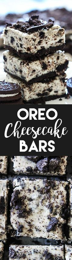 These Oreo Cheesecake Bars start with a buttery Oreo crust, a cheesecake and Oreo middle, and are topped with Oreo crumbs. They are so easy to make! (easy christmas treats to make) No Bake Desserts, Just Desserts, Delicious Desserts, Dessert Recipes, Yummy Food, Oreo Desserts, Plated Desserts, Oreo Cheesecake Bars, Cheesecake Recipes