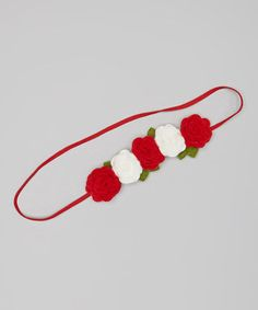 Take a look at this Red & White Rose Headband by Tressed Up Couture on #zulily today!