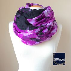 Breastfeeding Top, Nursing Scarf Purple Floral, Black Lace Infinity Scarf, Reversible Chunky Scarf, Nursing Baby and Mommy, Breast Coverup by 08Designs on Etsy https://www.etsy.com/listing/200938713/breastfeeding-top-nursing-scarf-purple
