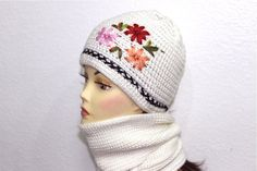 Knitted White Hat and Scarf Set with Flower by Nikifashion on Etsy