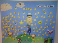 100th day of school. 100 coins to celebrate the 100th day. My boys love ANYTHING from Super Mario Bros. He really enjoyed making this.