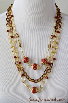 Retro Red Necklace from Jesse James Unique Beads