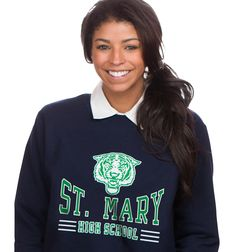 School uniform with school's name; change the words, colors, and mascot to match your school: QSL-108 More ideas at easyprints.com [School Spirit] School Spirit Wear, School Uniform, Sport Outfits, Graphic Sweatshirt, Change, Bowling, Sweatshirts, Volleyball, Colors