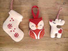 Christmas felt ornaments (stockong, owl, reindeer) by Les Boutiqueuses (décorations de Noël en feutrine : chaussette, hibou, renne)                                                                                                                                                                                 Plus