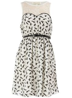 Cream Horse Print Dress  #plus #size #fashion #dress