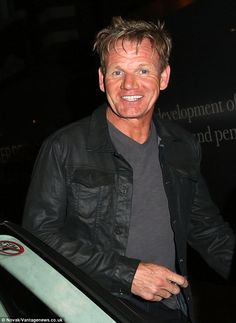Blinding: Gordon Ramsay shows off his Hollywood smile after he leaves the Restaurant Story in London Gordon Ramsay Shows, Celebrity Smiles, White Teeth, Celebs, Celebrities, Health Fitness, Hollywood, Restaurant, Leaves