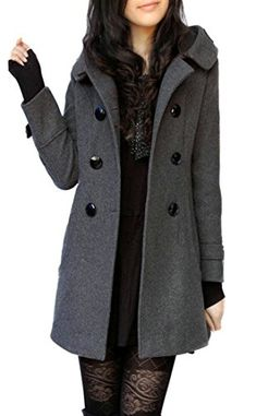 339c05f837b9f Zago Women Winter Double Breasted Hooded Plus Size Wool Pea Coats Blend  Overcoat Women s Coats