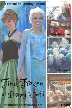 Everyone loves the Disney movie, Frozen!  On your next Disney World vacation, where can you find Frozen?  You can find Anna & Elsa at a meet and greet at Magic Kingdom or in the Festival of Fantasy Parade.  You can even find merchandise, balloons and treats at the Disney Parks.