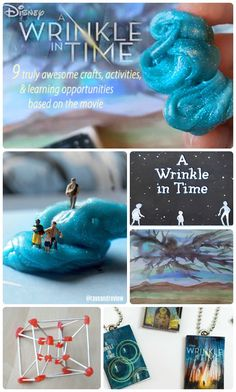 A Wrinkle In Time activities, crafts, and learning opportunities based on the book and movie. Slime and charms and DIY tesseracts! Time Activities, Kids Learning Activities, Movie Crafts, Slime, A Wrinkle In Time, Book Projects, School Projects, Drawing Activities, School Clubs