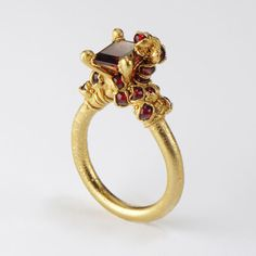 Single Garnet Encrusted Ring  22ct gold silver and garnet by Ruth Tomlinson