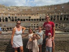 Daniel and Clair Prince and family at the Colosseum n Rome.