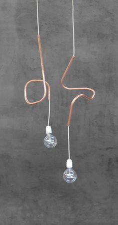 Hangende Lamp met koper accent
