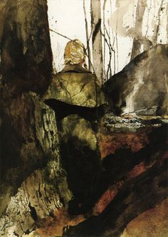"from Andrew Wyeth's Helga series CAMPFIRE. ""I think one's art goes as far and as deep as one's love goes."""