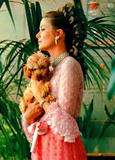 Princess Grace & her pet poodle, UK Vogue, March 1970, Photo by Lord Snowdon, Pink gown by Givenchy.