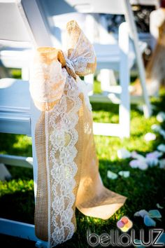 Burlap and Lace Wedding Ceremony Bow qty. by PinkSlipInspiration