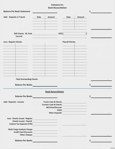 21 Best Bank Reconciliation Statement Template Excel